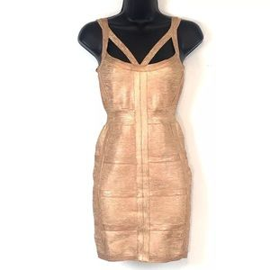 Bandage Dress rose gold woodgrain  fitted bodycon